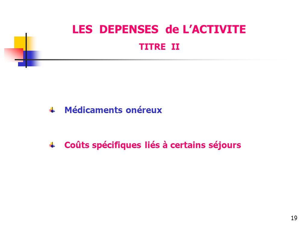 19 LES DEPENSES de LACTIVITE TITRE II Médicaments onéreux Coûts spécifiques liés à certains séjours