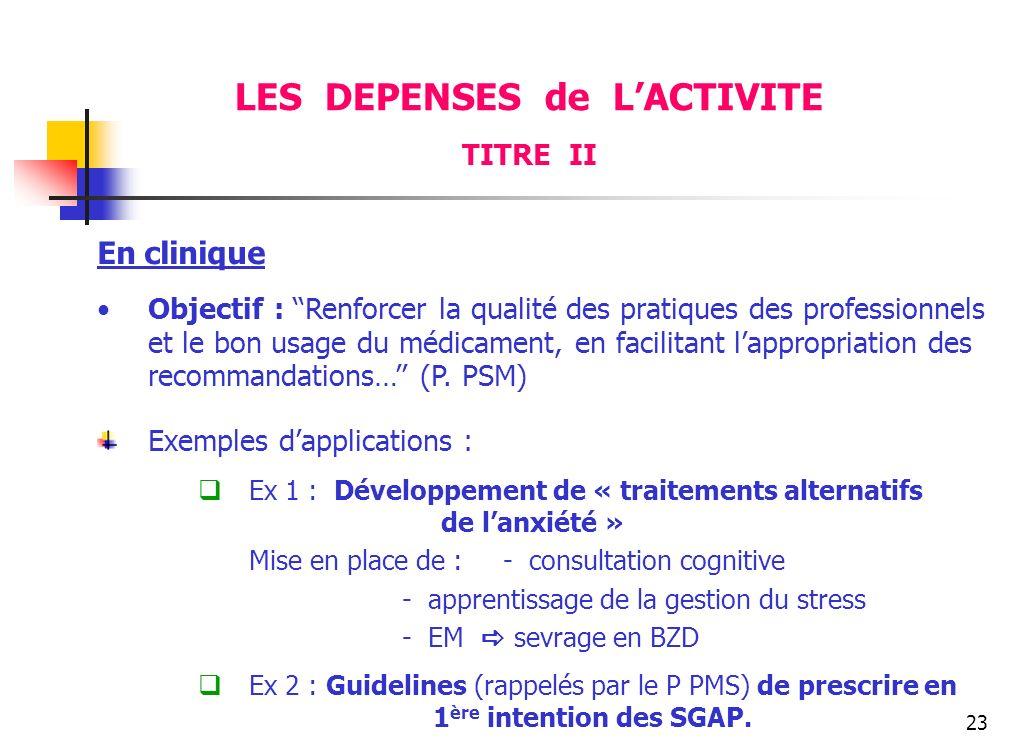 23 En clinique Objectif : Renforcer la qualité des pratiques des professionnels et le bon usage du médicament, en facilitant lappropriation des recomm