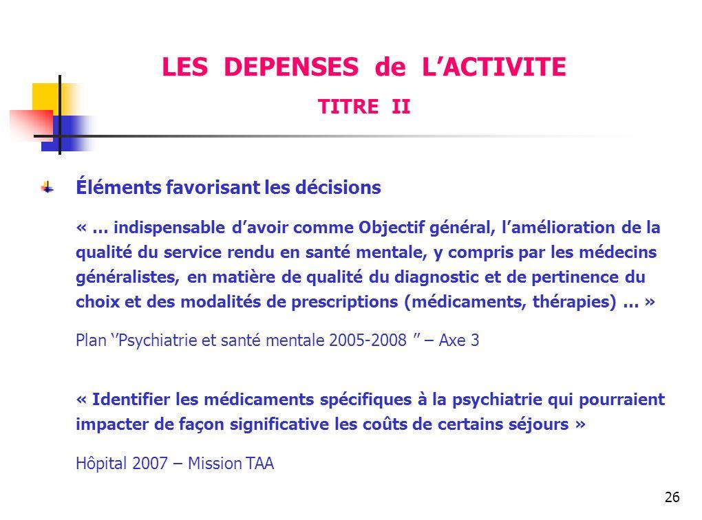 26 Éléments favorisant les décisions « … indispensable davoir comme Objectif général, lamélioration de la qualité du service rendu en santé mentale, y