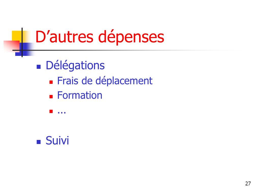 27 Dautres dépenses Délégations Frais de déplacement Formation... Suivi