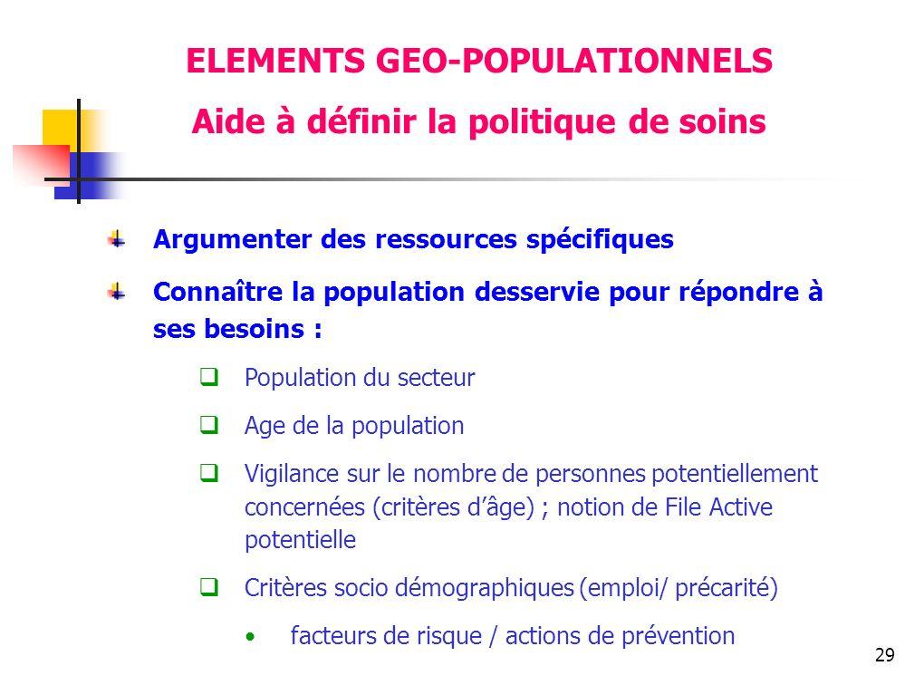 29 ELEMENTS GEO-POPULATIONNELS Aide à définir la politique de soins Argumenter des ressources spécifiques Connaître la population desservie pour répon