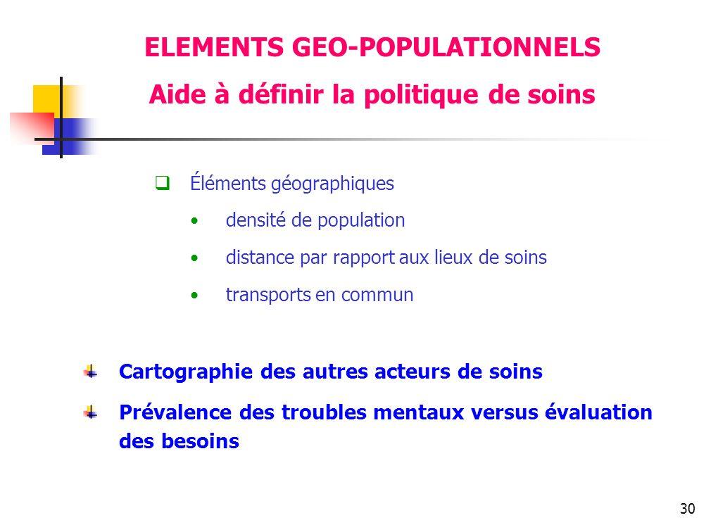 30 ELEMENTS GEO-POPULATIONNELS Aide à définir la politique de soins Éléments géographiques densité de population distance par rapport aux lieux de soi
