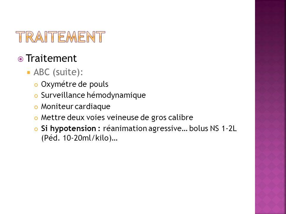 Traitement ABC (suite) : Oxymétre de pouls Surveillance hémodynamique Moniteur cardiaque Mettre deux voies veineuse de gros calibre Si hypotension : r