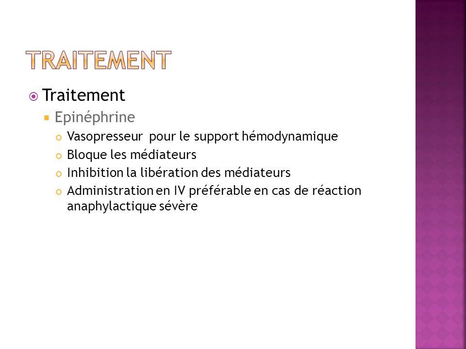 Traitement Epinéphrine Vasopresseur pour le support hémodynamique Bloque les médiateurs Inhibition la libération des médiateurs Administration en IV p
