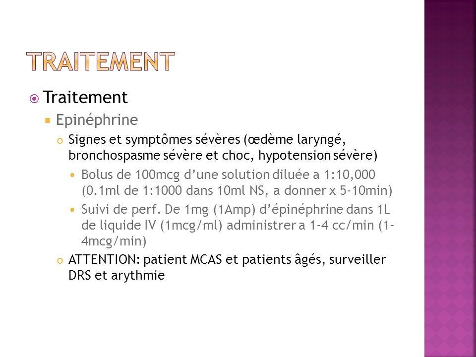 Traitement Epinéphrine Signes et symptômes sévères (œdème laryngé, bronchospasme sévère et choc, hypotension sévère) Bolus de 100mcg dune solution dil