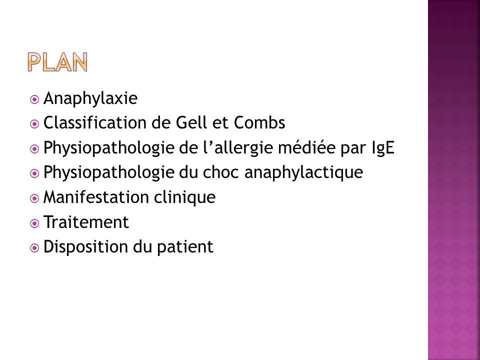 Anaphylaxie Classification de Gell et Combs Physiopathologie de lallergie médiée par IgE Physiopathologie du choc anaphylactique Manifestation cliniqu
