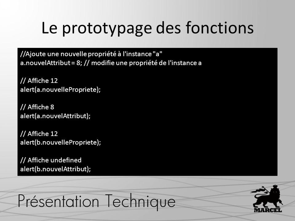 Le prototypage des fonctions //Ajoute une nouvelle propriété à l'instance