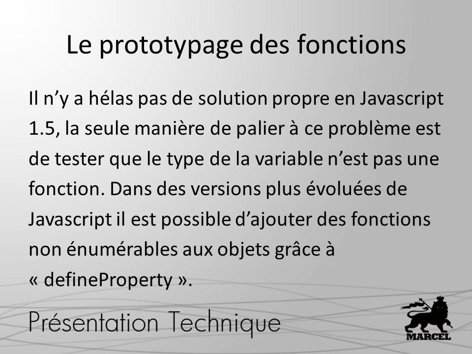 Le prototypage des fonctions Il ny a hélas pas de solution propre en Javascript 1.5, la seule manière de palier à ce problème est de tester que le typ