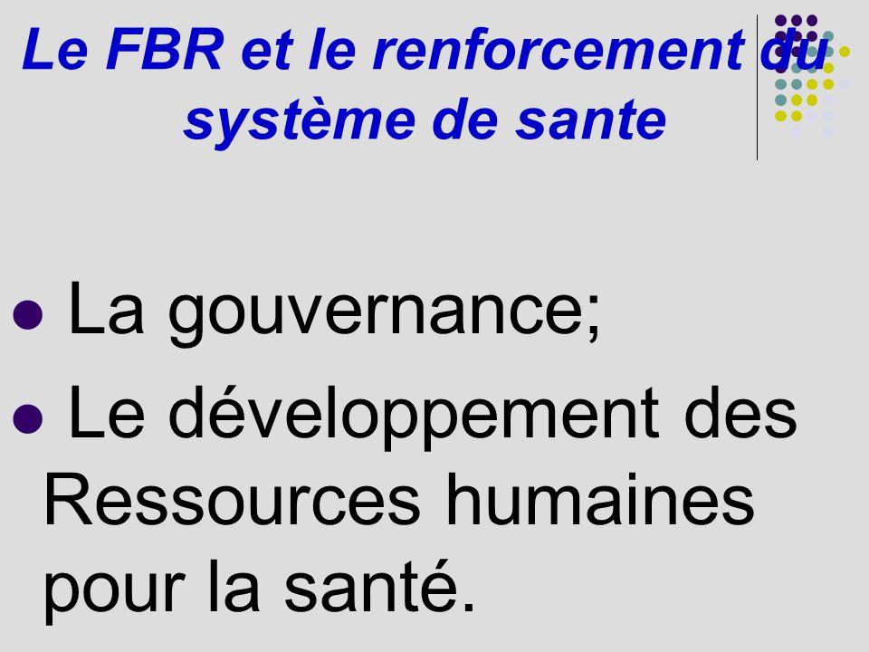 Le FBR et le renforcement du système de sante La gouvernance; Le développement des Ressources humaines pour la santé.