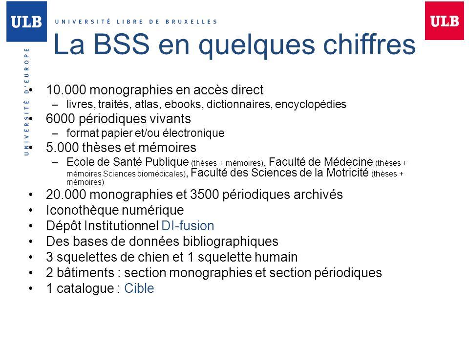 La BSS en quelques chiffres 10.000 monographies en accès direct –livres, traités, atlas, ebooks, dictionnaires, encyclopédies 6000 périodiques vivants