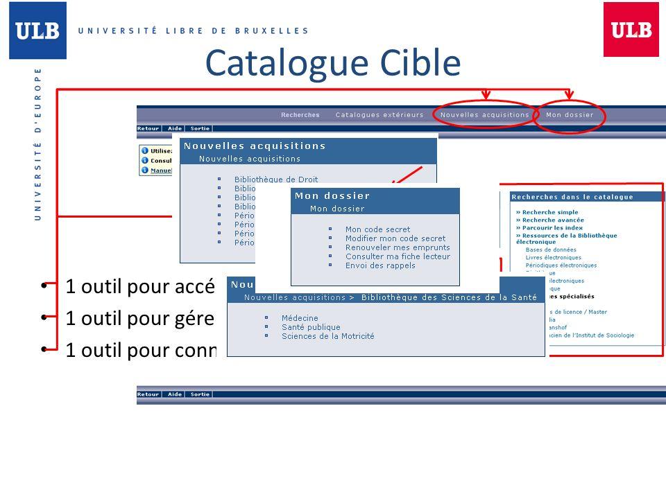 Catalogue Cible 1 outil pour accéder aux ressources de la BSS 1 outil pour gérer ses emprunts 1 outil pour connaître les derniers achats de la BSS