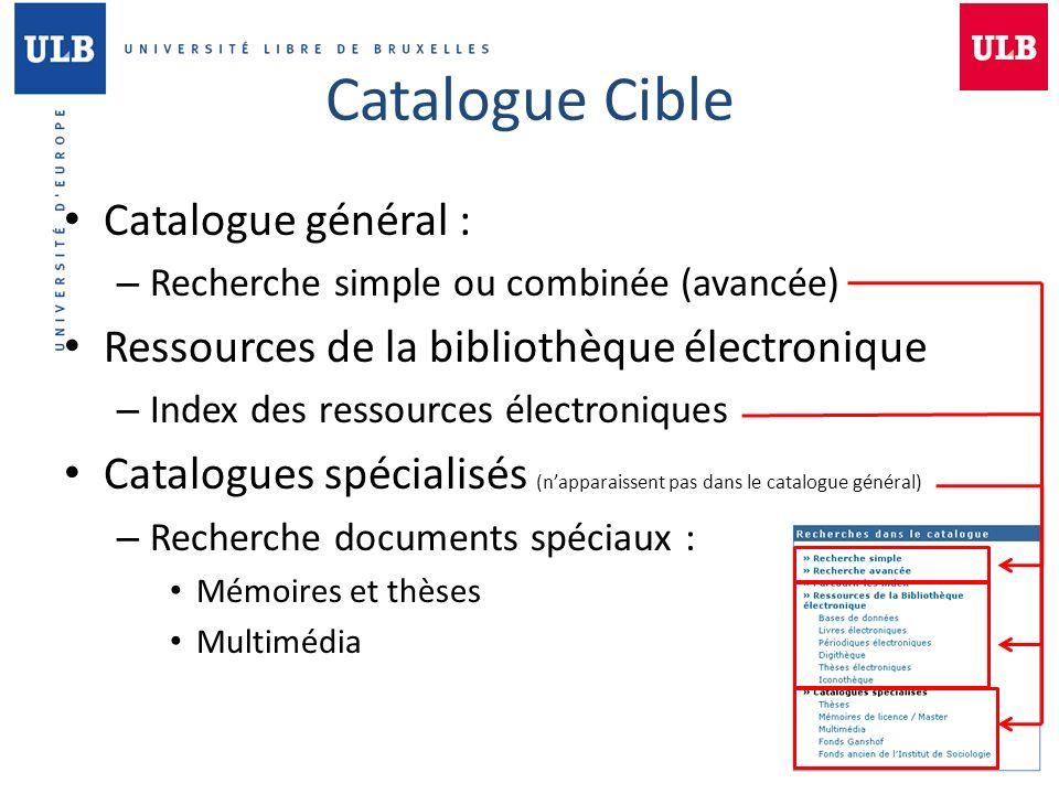 Catalogue Cible Catalogue général : – Recherche simple ou combinée (avancée) Ressources de la bibliothèque électronique – Index des ressources électro