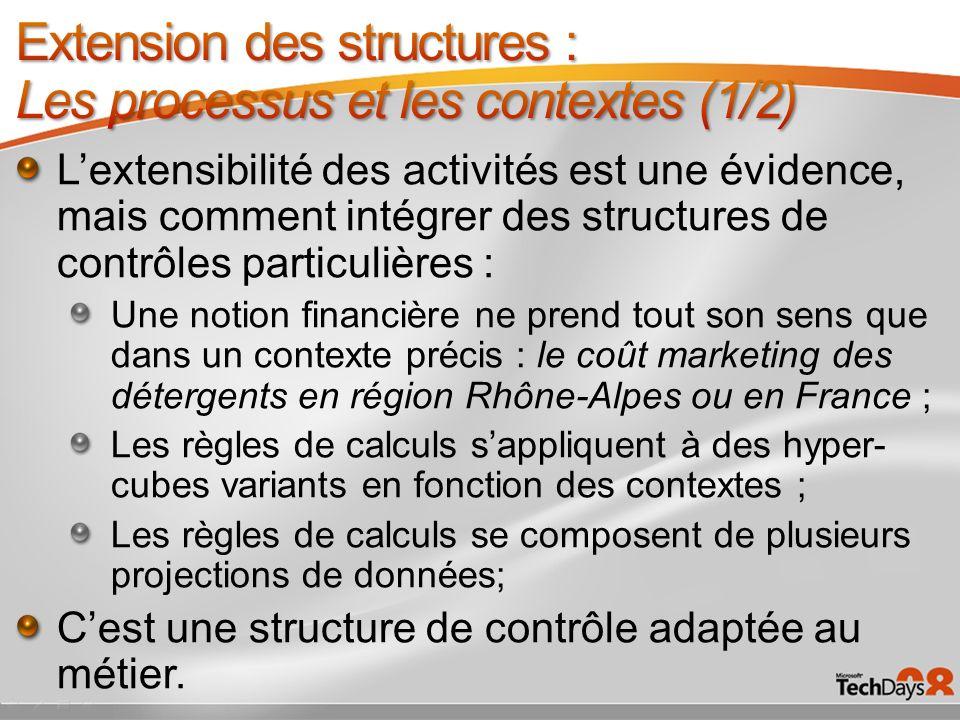 Lextensibilité des activités est une évidence, mais comment intégrer des structures de contrôles particulières : Une notion financière ne prend tout s