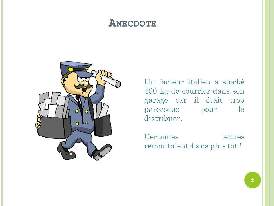 A NECDOTE Un facteur italien a stocké 400 kg de courrier dans son garage car il était trop paresseux pour le distribuer.