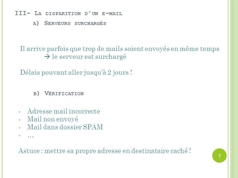 III- L A DISPARITION D UN E - MAIL A ) S ERVEURS SURCHARGÉS B ) V ÉRIFICATION Il arrive parfois que trop de mails soient envoyés en même temps le serveur est surchargé Délais pouvant aller jusquà 2 jours .