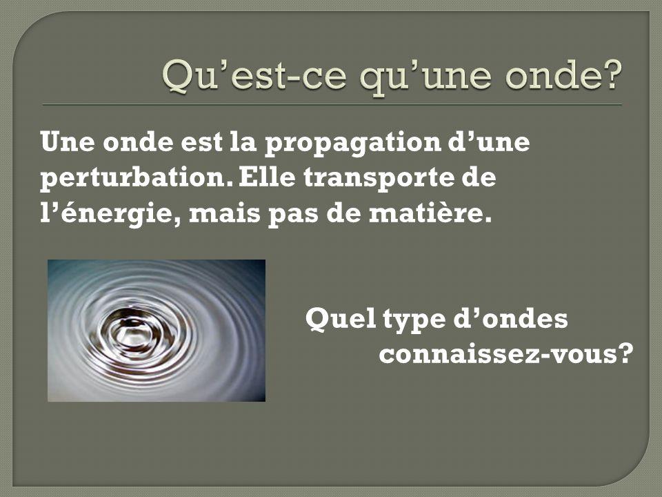 Une onde est la propagation dune perturbation. Elle transporte de lénergie, mais pas de matière. Quel type dondes connaissez-vous?