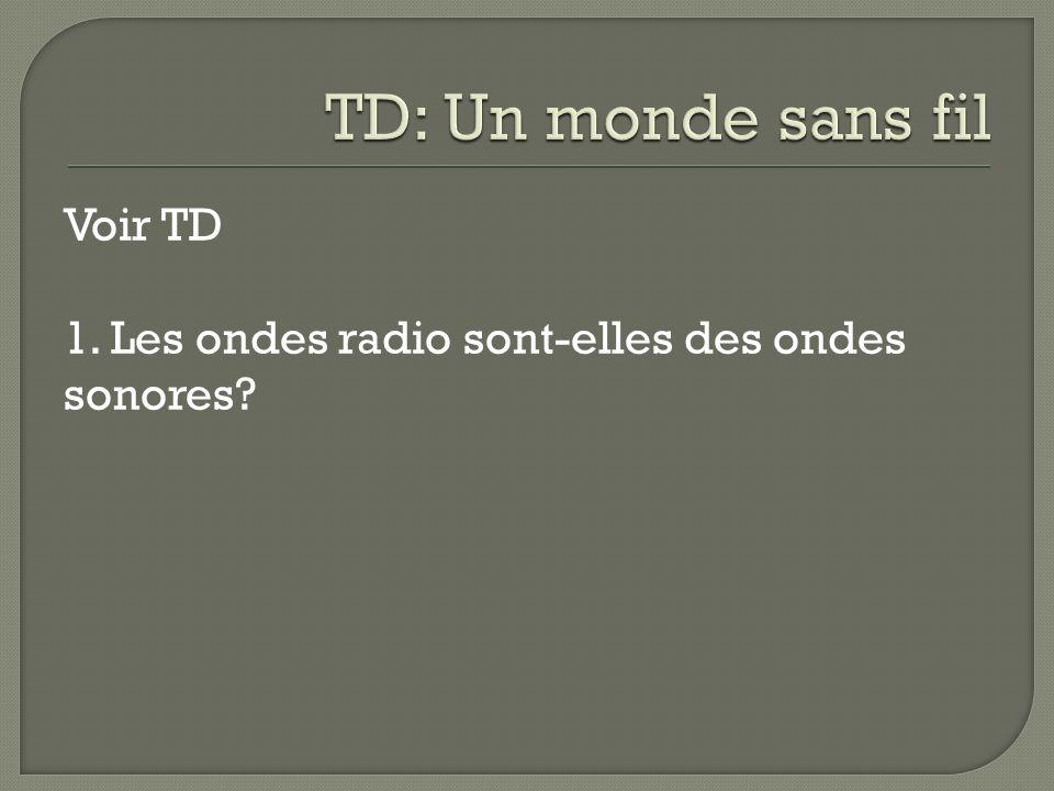 Voir TD 1. Les ondes radio sont-elles des ondes sonores?