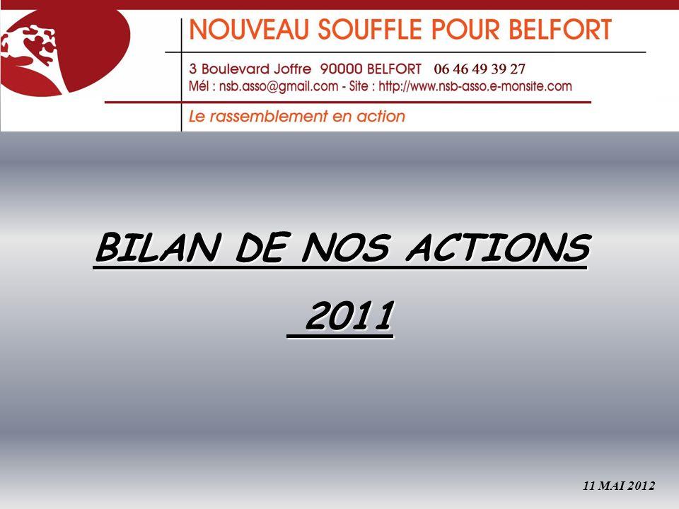 BILAN DE NOS ACTIONS 2011 2011 11 MAI 2012
