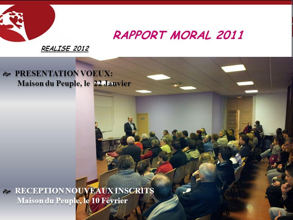 REALISE 2012 RAPPORT MORAL 2011 PRESENTATION VOEUX: Maison du Peuple, le 22 Janvier RECEPTION NOUVEAUX INSCRITS Maison du Peuple, le 10 Février PRESEN