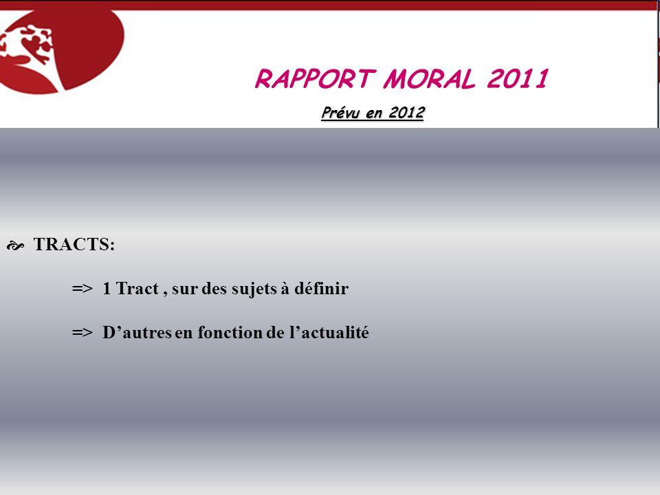TRACTS: => 1 Tract, sur des sujets à définir => Dautres en fonction de lactualité RAPPORT MORAL 2011 Prévu en 2012