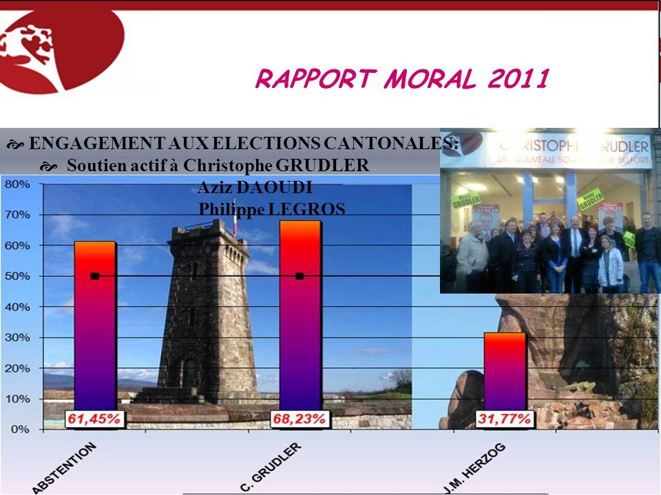 RAPPORT MORAL 2011 ENGAGEMENT AUX ELECTIONS CANTONALES: Soutien actif à Christophe GRUDLER Aziz DAOUDI Philippe LEGROS