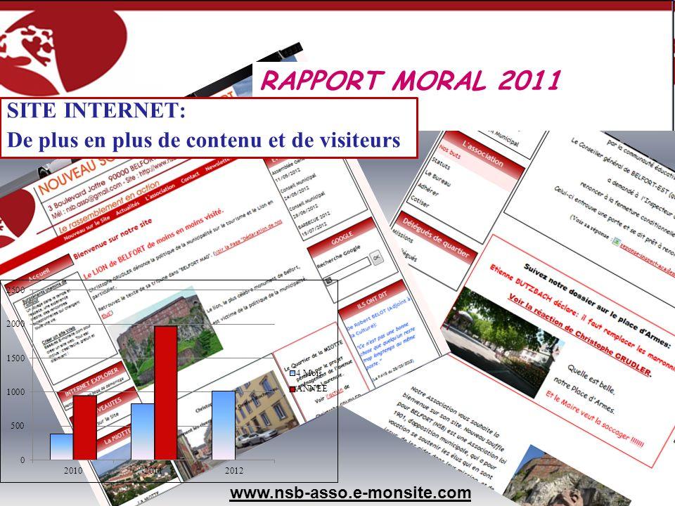 www.nsb-asso.e-monsite.com RAPPORT MORAL 2011 SITE INTERNET: De plus en plus de contenu et de visiteurs