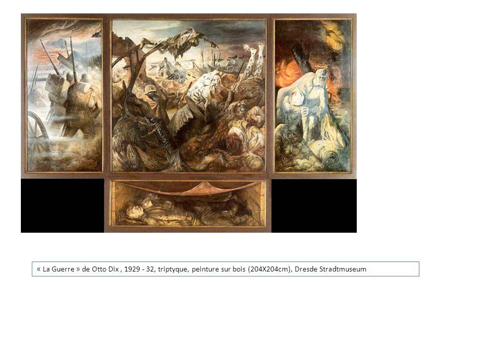 « La Guerre » de Otto Dix, 1929 - 32, triptyque, peinture sur bois (204X204cm), Dresde Stradtmuseum