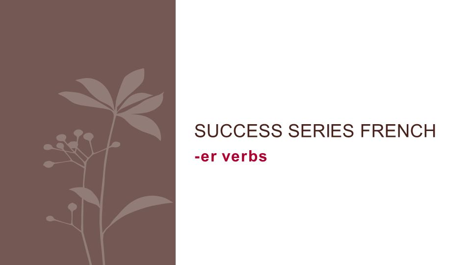 -er verbs SUCCESS SERIES FRENCH