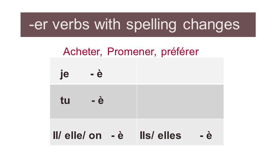-er verbs with spelling changes Acheter, Promener, préférer je - è tu - è Il/ elle/ on - èIls/ elles - è
