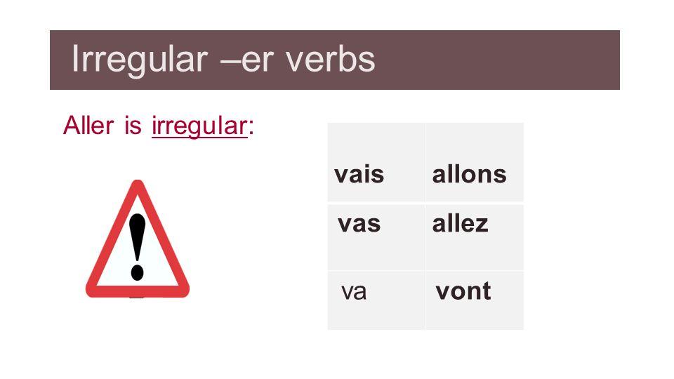 Irregular –er verbs Aller is irregular: vais allons vas allez va vont