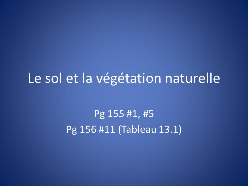 Le sol et la végétation naturelle Pg 155 #1, #5 Pg 156 #11 (Tableau 13.1)