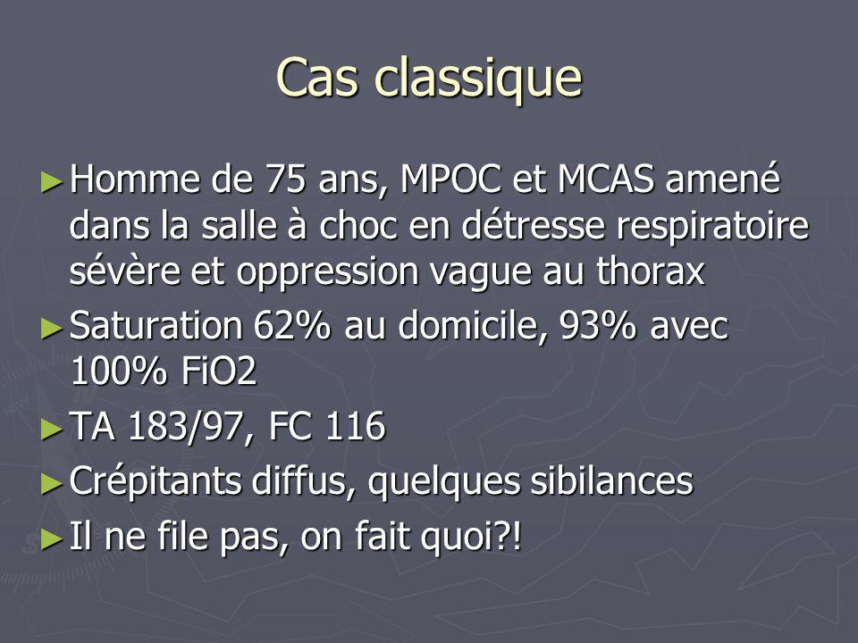 Cas classique Homme de 75 ans, MPOC et MCAS amené dans la salle à choc en détresse respiratoire sévère et oppression vague au thorax Homme de 75 ans,
