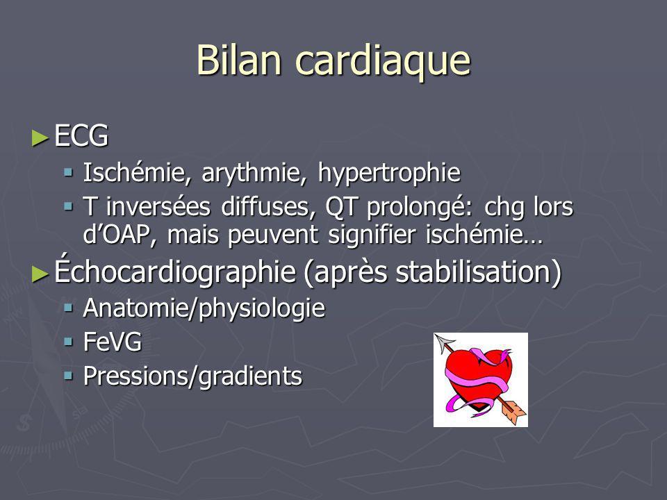 Bilan cardiaque ECG ECG Ischémie, arythmie, hypertrophie Ischémie, arythmie, hypertrophie T inversées diffuses, QT prolongé: chg lors dOAP, mais peuve