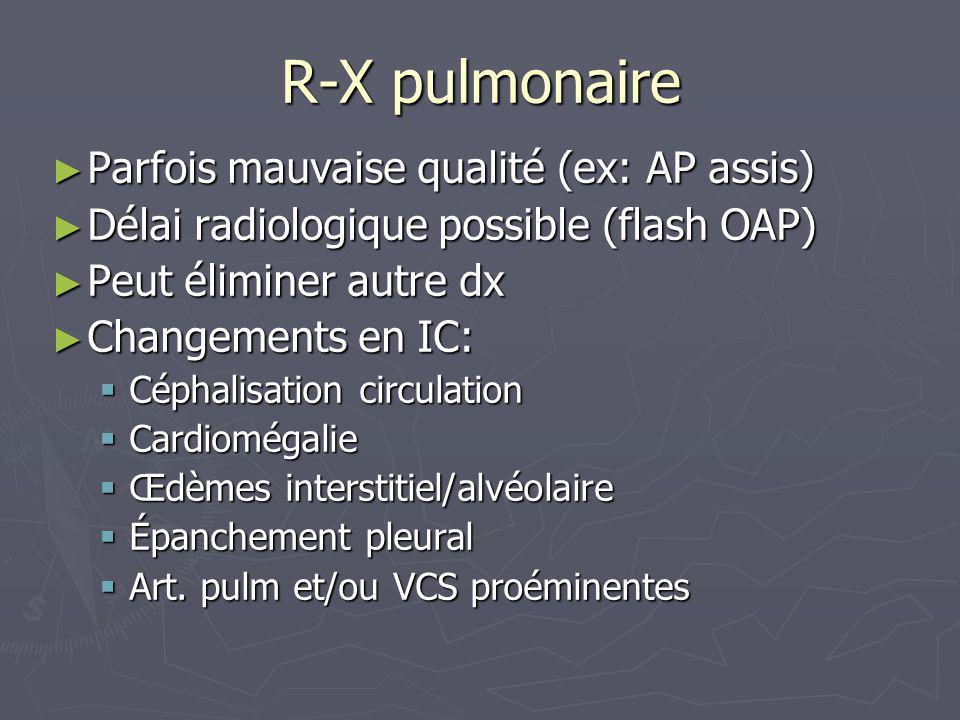 R-X pulmonaire Parfois mauvaise qualité (ex: AP assis) Parfois mauvaise qualité (ex: AP assis) Délai radiologique possible (flash OAP) Délai radiologi