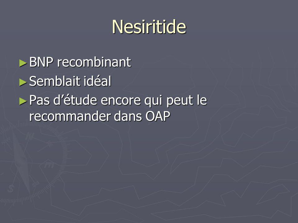 Nesiritide BNP recombinant BNP recombinant Semblait idéal Semblait idéal Pas détude encore qui peut le recommander dans OAP Pas détude encore qui peut
