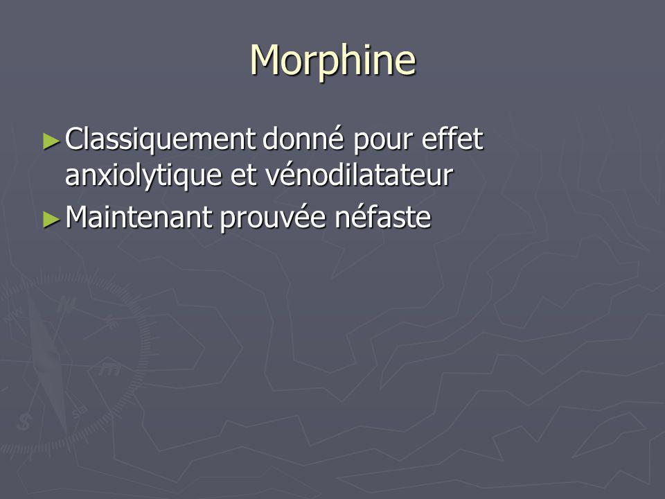 Morphine Classiquement donné pour effet anxiolytique et vénodilatateur Classiquement donné pour effet anxiolytique et vénodilatateur Maintenant prouvé