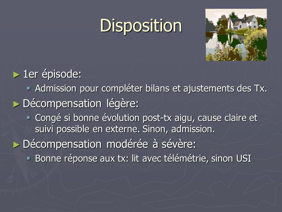 Disposition 1er épisode: 1er épisode: Admission pour compléter bilans et ajustements des Tx. Admission pour compléter bilans et ajustements des Tx. Dé