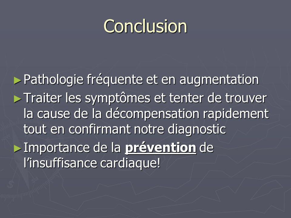 Conclusion Pathologie fréquente et en augmentation Pathologie fréquente et en augmentation Traiter les symptômes et tenter de trouver la cause de la d
