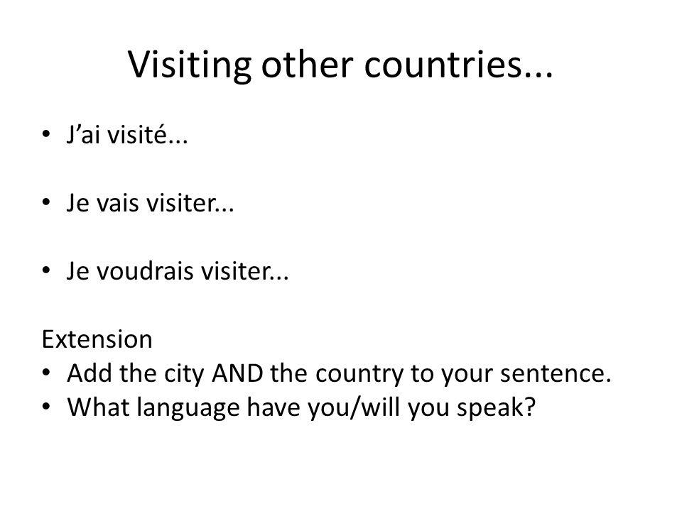 Visiting other countries...Jai visité... Je vais visiter...