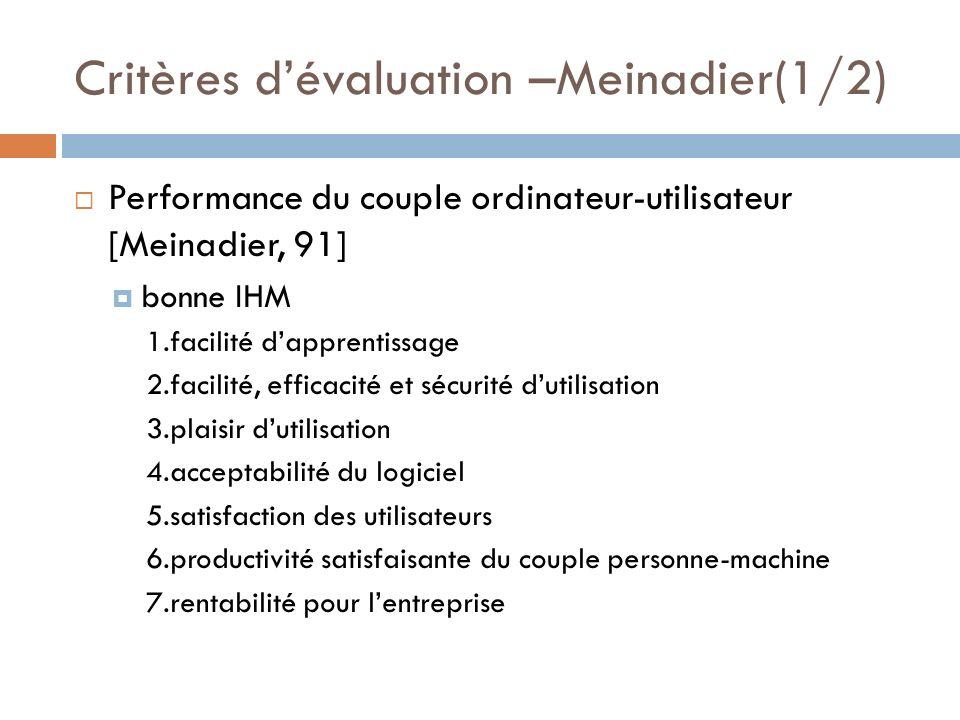 Critères dévaluation –Meinadier(1/2) Performance du couple ordinateur-utilisateur [Meinadier, 91] bonne IHM 1.facilité dapprentissage 2.facilité, effi