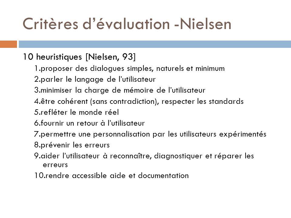 Critères dévaluation -Nielsen 10 heuristiques [Nielsen, 93] 1.proposer des dialogues simples, naturels et minimum 2.parler le langage de lutilisateur