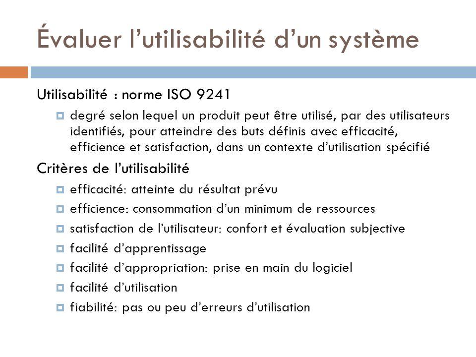 Évaluer lutilisabilité dun système Utilisabilité : norme ISO 9241 degré selon lequel un produit peut être utilisé, par des utilisateurs identifiés, po