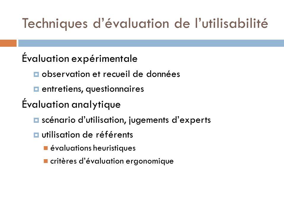 Techniques dévaluation de lutilisabilité Évaluation expérimentale observation et recueil de données entretiens, questionnaires Évaluation analytique s