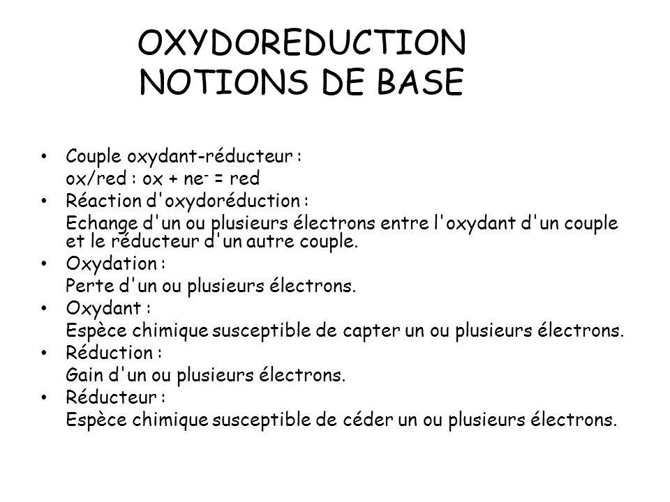 OXYDOREDUCTION NOTIONS DE BASE Couple oxydant-réducteur : ox/red : ox + ne - = red Réaction d'oxydoréduction : Echange d'un ou plusieurs électrons ent