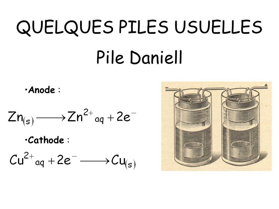 QUELQUES PILES USUELLES Pile Daniell Anode : Cathode :