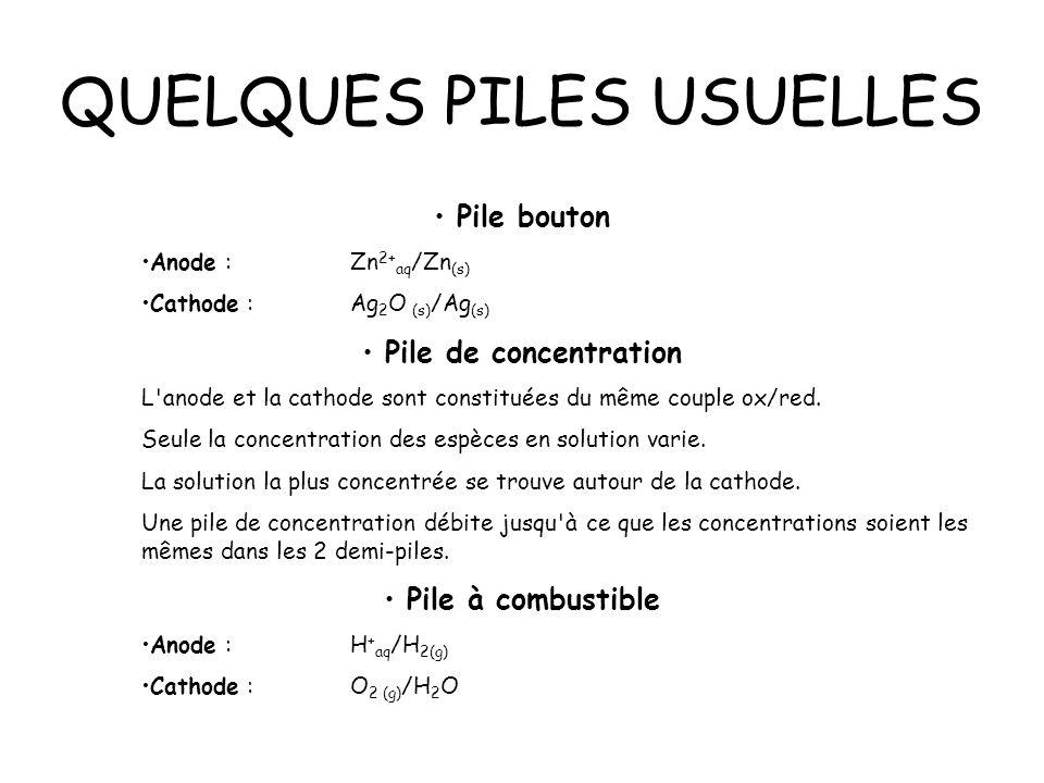 QUELQUES PILES USUELLES Pile bouton Anode :Zn 2+ aq /Zn (s) Cathode :Ag 2 O (s) /Ag (s) Pile de concentration L'anode et la cathode sont constituées d