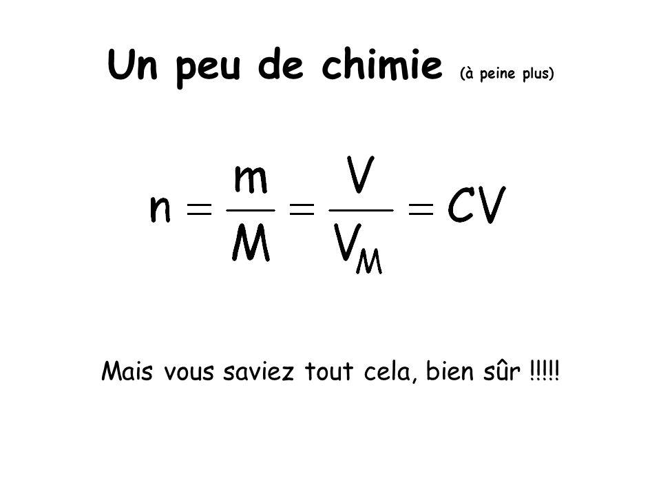 Un peu de chimie (à peine plus) Mais vous saviez tout cela, bien sûr !!!!!
