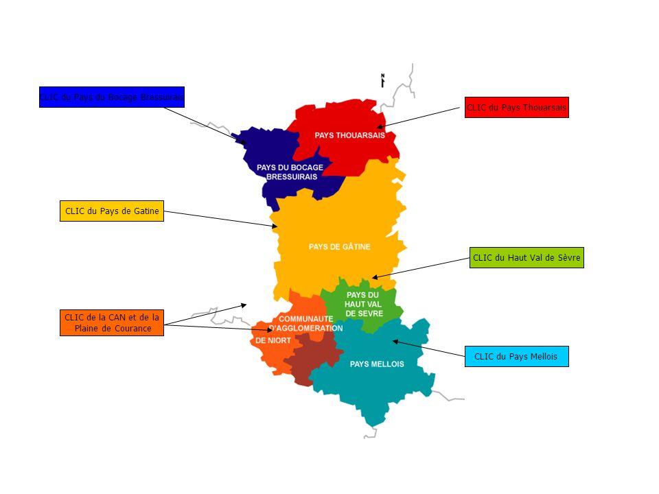 CLIC du Pays Thouarsais CLIC du Pays du Bocage Bressuirais CLIC du Pays de Gatine CLIC de la CAN et de la Plaine de Courance CLIC du Haut Val de Sèvre