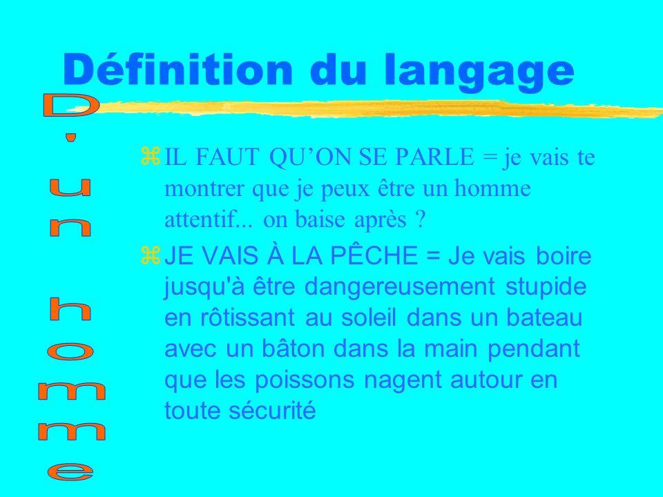 Définition du langage zOUI = Oui zNON = Non zVEUX-TU ALLER AU CINÉMA ? = je voudrais baiser après zVEUX-TU ALLER AU RESTO ? = on pourra baiser après z