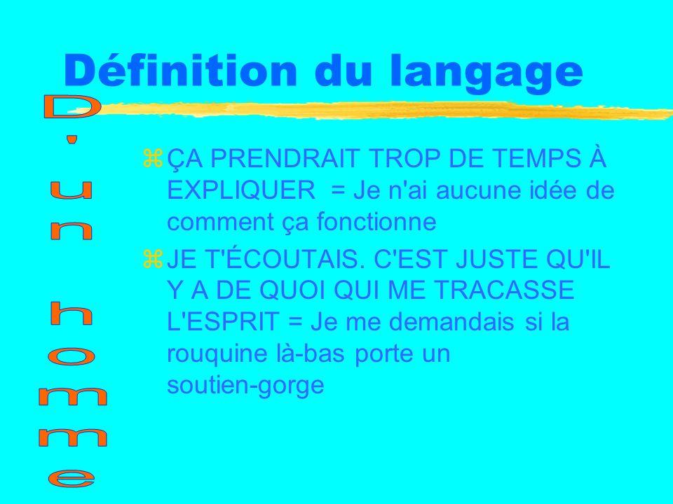 Définition du langage zÇA PRENDRAIT TROP DE TEMPS À EXPLIQUER = Je n ai aucune idée de comment ça fonctionne zJE T ÉCOUTAIS.